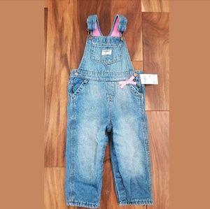 Girls Osh Kosh Denim Fleece Lined Denim Overalls